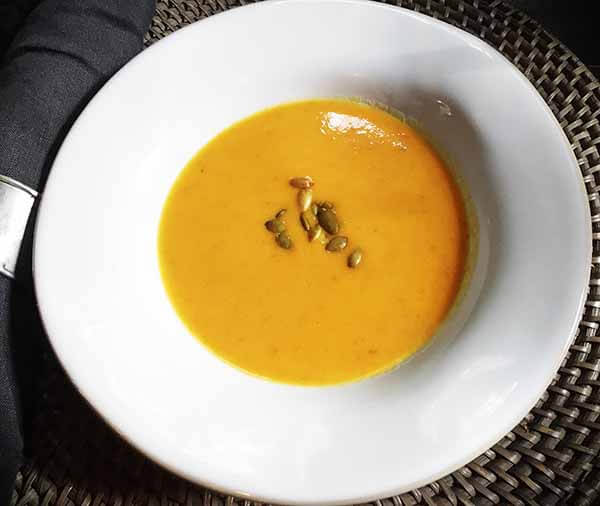 bowl of carrot coconut soup