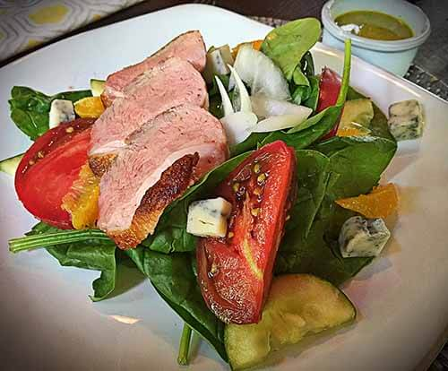 pan seared duck salad